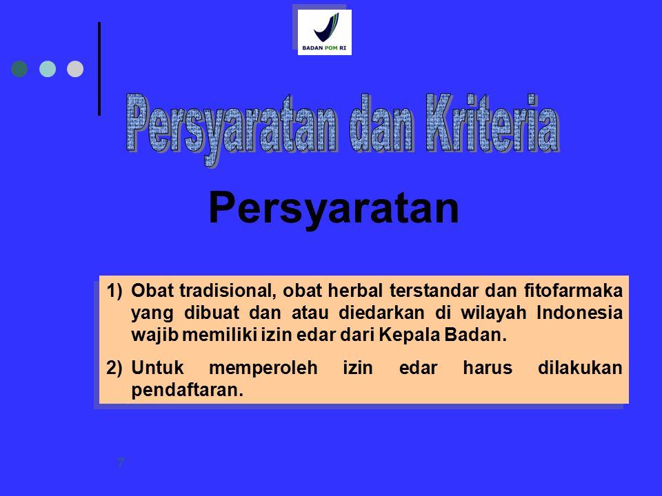 7 Persyaratan 1)Obat tradisional, obat herbal terstandar dan fitofarmaka yang dibuat dan atau diedarkan di wilayah Indonesia wajib memiliki izin edar