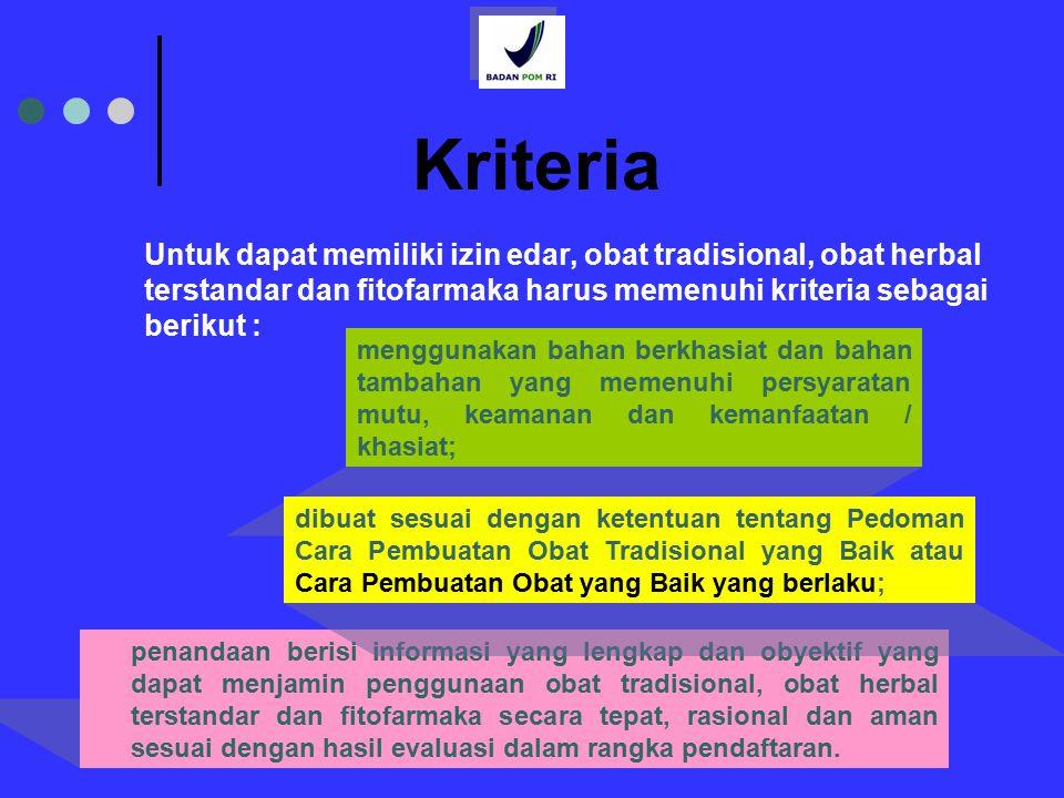 9 Kriteria penandaan berisi informasi yang lengkap dan obyektif yang dapat menjamin penggunaan obat tradisional, obat herbal terstandar dan fitofarmak