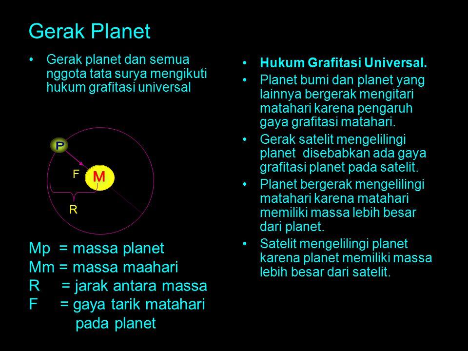 Gerak Planet Gerak planet dan semua nggota tata surya mengikuti hukum grafitasi universal Hukum Grafitasi Universal. Planet bumi dan planet yang lainn
