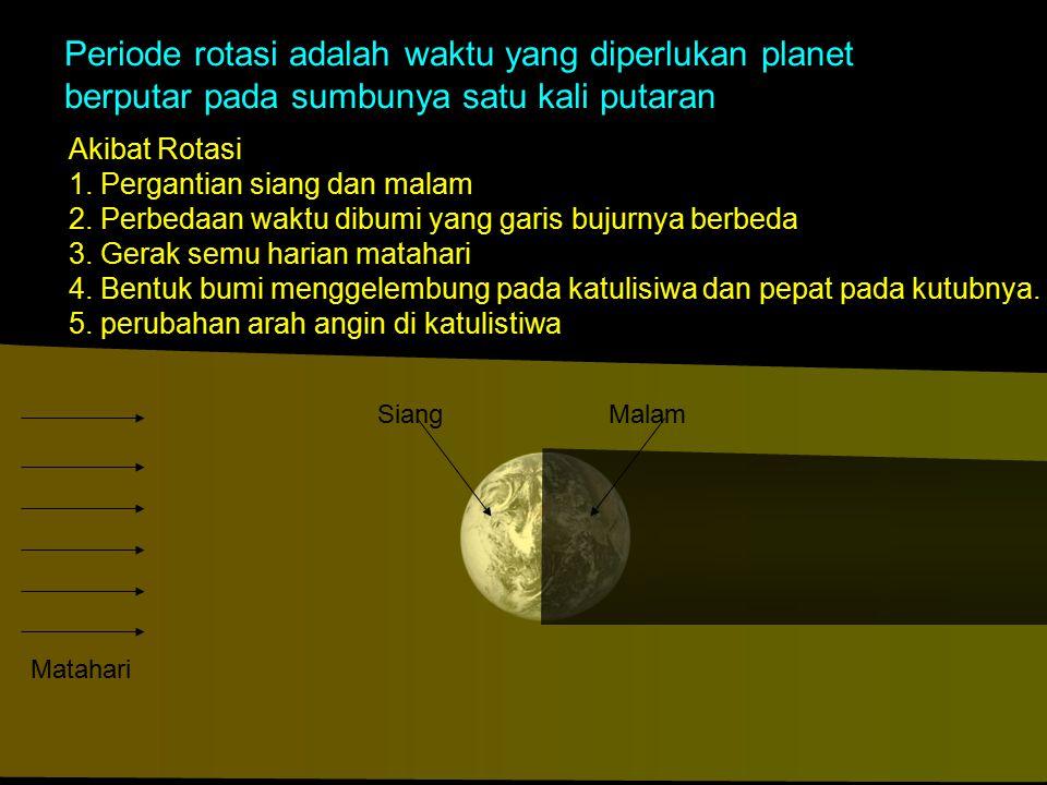 Akibat Rotasi 1. Pergantian siang dan malam 2. Perbedaan waktu dibumi yang garis bujurnya berbeda 3. Gerak semu harian matahari 4. Bentuk bumi menggel