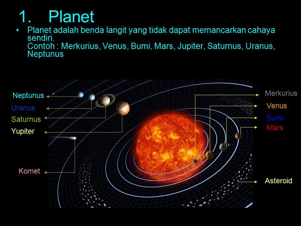 Tabel data planet MercuriusVenusBumiMarsJupiterSaturnusUranusNeptunus Jari-jari katulistiwa (x Jari-jari Bumi ) 0.38250.948810.532511.219.4494.0073.883 Massa (x massa Bumi) 0.05530.815010.1074317.895.1614.5417.15 Massa jenis (g/cm 3 ) 5.45.25.53.91.30.691.31.6 Periode Rotasi (hari) 58.6-24011.030.4140.444-0.7180.671 Periode Revolusi (tahun) 0.24080.615211.88111.8629.4684.01164.8 Jarak rata- rata ke matahari (SA) 0.38710.723311.5245.2039.5919.1030 Jumlah Satelit 001263562713 Data Microsoft encarta Incyclopedia 2008