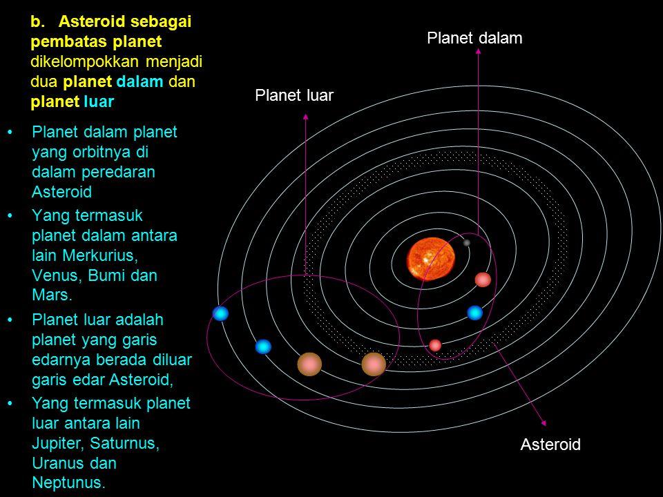 Planet dalam Planet luar Asteroid b. Asteroid sebagai pembatas planet dikelompokkan menjadi dua planet dalam dan planet luar Planet dalam planet yang