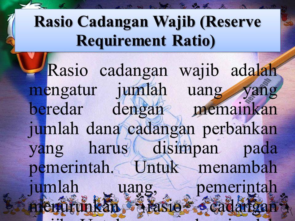 Rasio Cadangan Wajib (Reserve Requirement Ratio) Rasio Cadangan Wajib (Reserve Requirement Ratio) Rasio cadangan wajib adalah mengatur jumlah uang yan