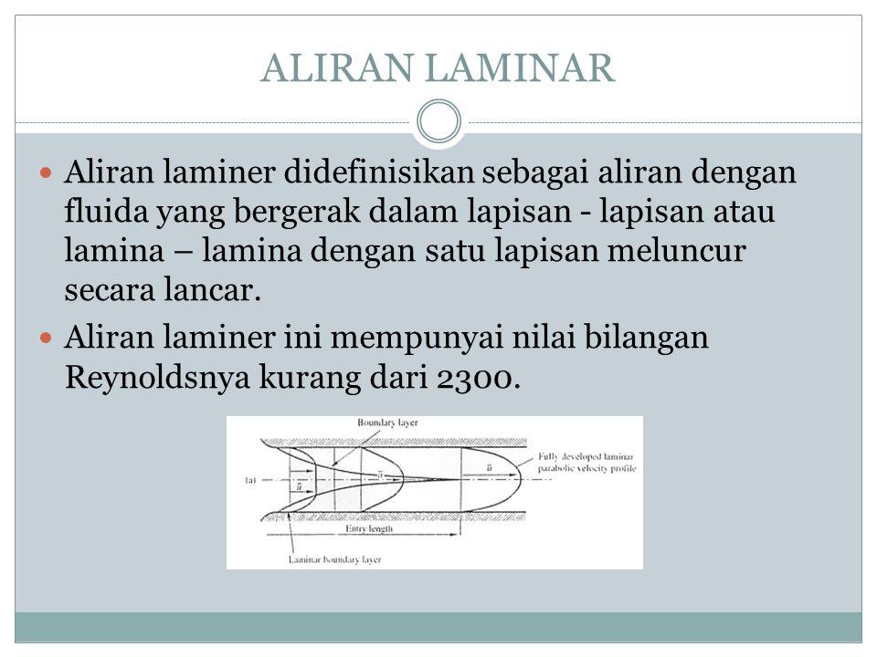 ALIRAN LAMINAR Aliran laminer didefinisikan sebagai aliran dengan fluida yang bergerak dalam lapisan - lapisan atau lamina – lamina dengan satu lapisa