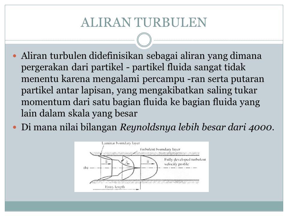 ALIRAN TURBULEN Aliran turbulen didefinisikan sebagai aliran yang dimana pergerakan dari partikel - partikel fluida sangat tidak menentu karena mengal