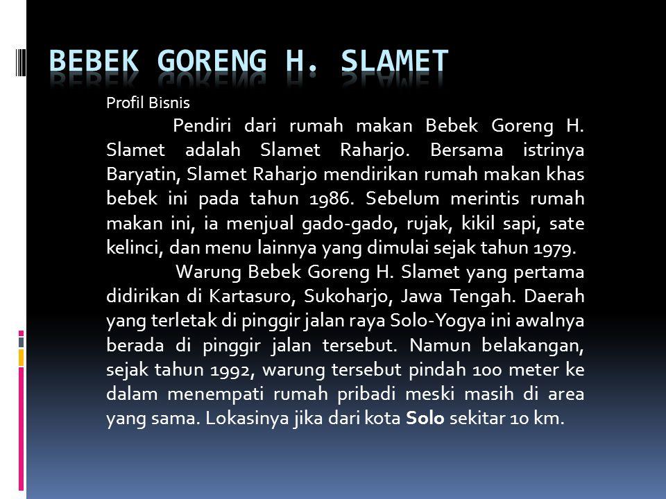 Profil Bisnis Pendiri dari rumah makan Bebek Goreng H. Slamet adalah Slamet Raharjo. Bersama istrinya Baryatin, Slamet Raharjo mendirikan rumah makan