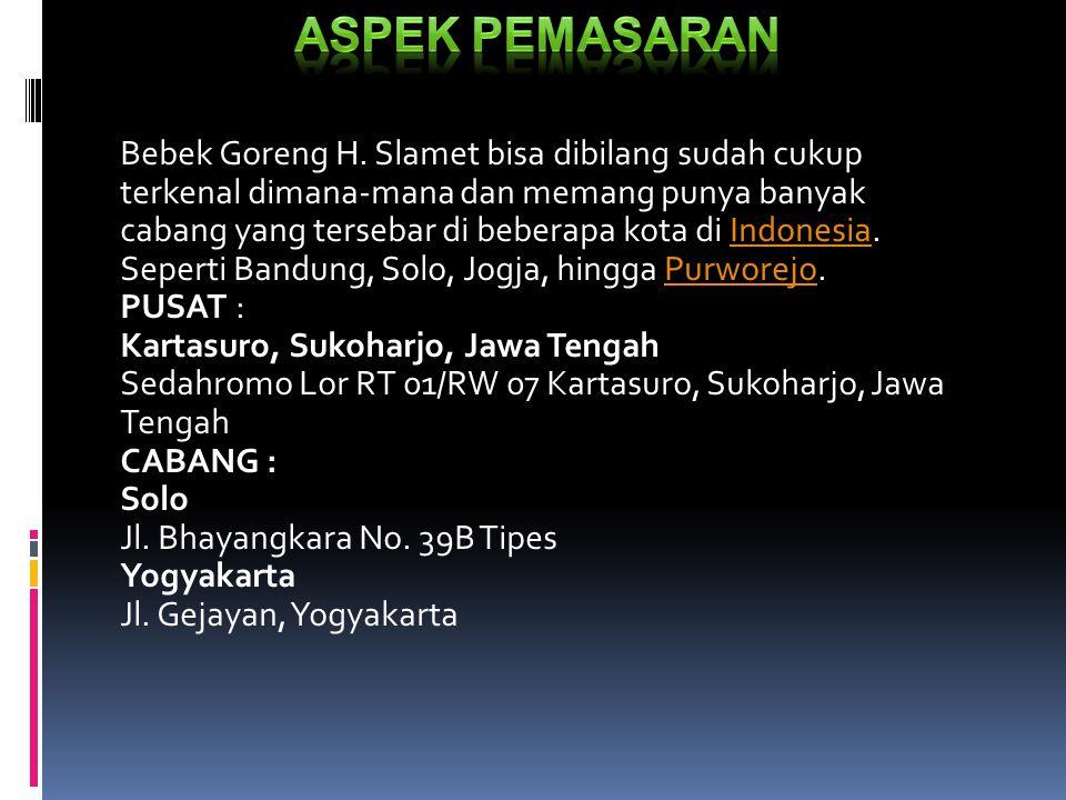 Bebek Goreng H. Slamet bisa dibilang sudah cukup terkenal dimana-mana dan memang punya banyak cabang yang tersebar di beberapa kota di Indonesia. Sepe