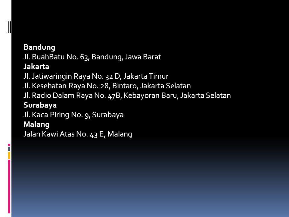 Bandung Jl. BuahBatu No. 63, Bandung, Jawa Barat Jakarta Jl. Jatiwaringin Raya No. 32 D, Jakarta Timur Jl. Kesehatan Raya No. 28, Bintaro, Jakarta Sel
