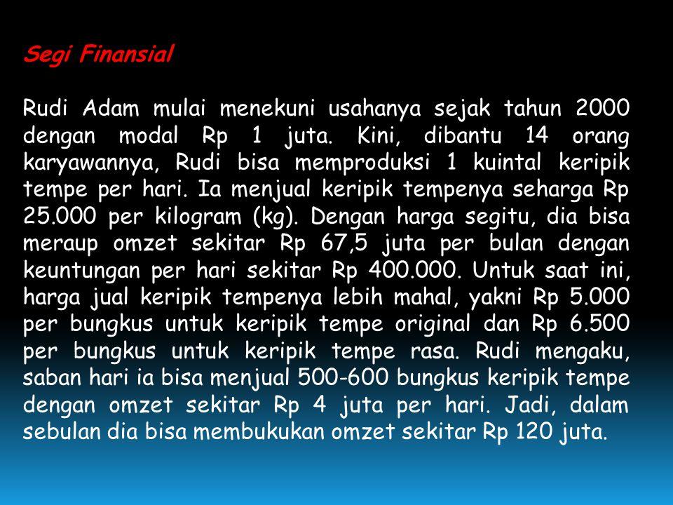 Segi Finansial Rudi Adam mulai menekuni usahanya sejak tahun 2000 dengan modal Rp 1 juta.