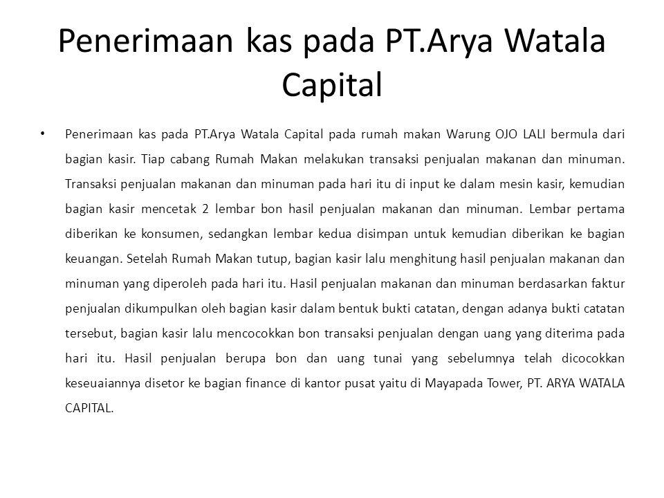 Penerimaan kas pada PT.Arya Watala Capital Penerimaan kas pada PT.Arya Watala Capital pada rumah makan Warung OJO LALI bermula dari bagian kasir.