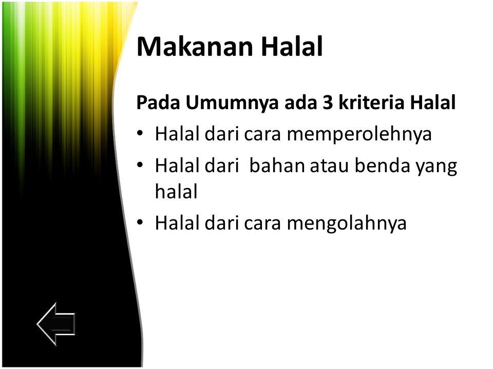 Jenis Jenis Makanan Halal Haram
