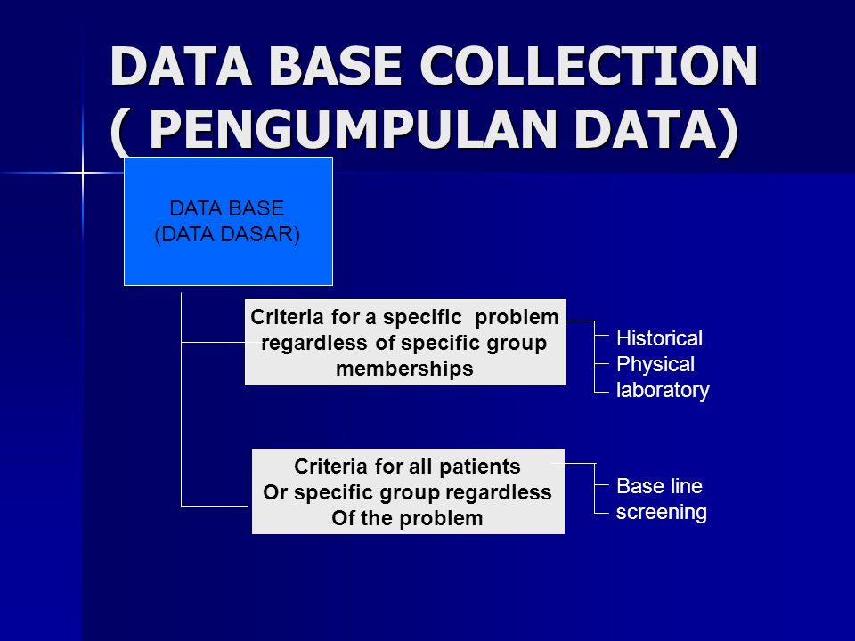 DATA BASE COLLECTION ( PENGUMPULAN DATA) DATA BASE (DATA DASAR) Criteria for a specific problem regardless of specific group memberships Criteria for