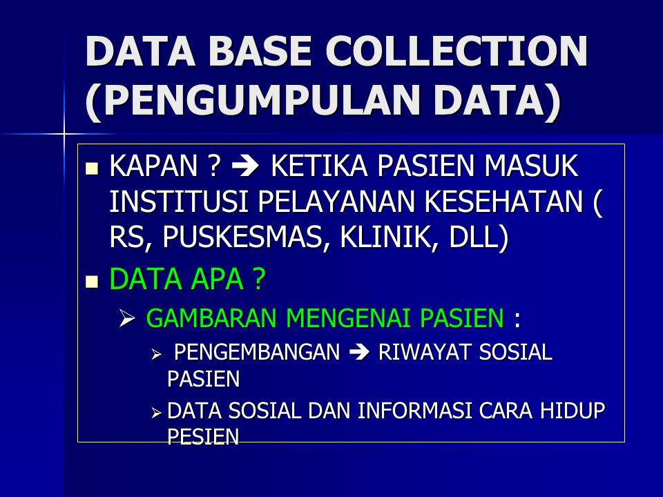 DATA BASE COLLECTION (PENGUMPULAN DATA) KAPAN ?  KETIKA PASIEN MASUK INSTITUSI PELAYANAN KESEHATAN ( RS, PUSKESMAS, KLINIK, DLL) KAPAN ?  KETIKA PAS