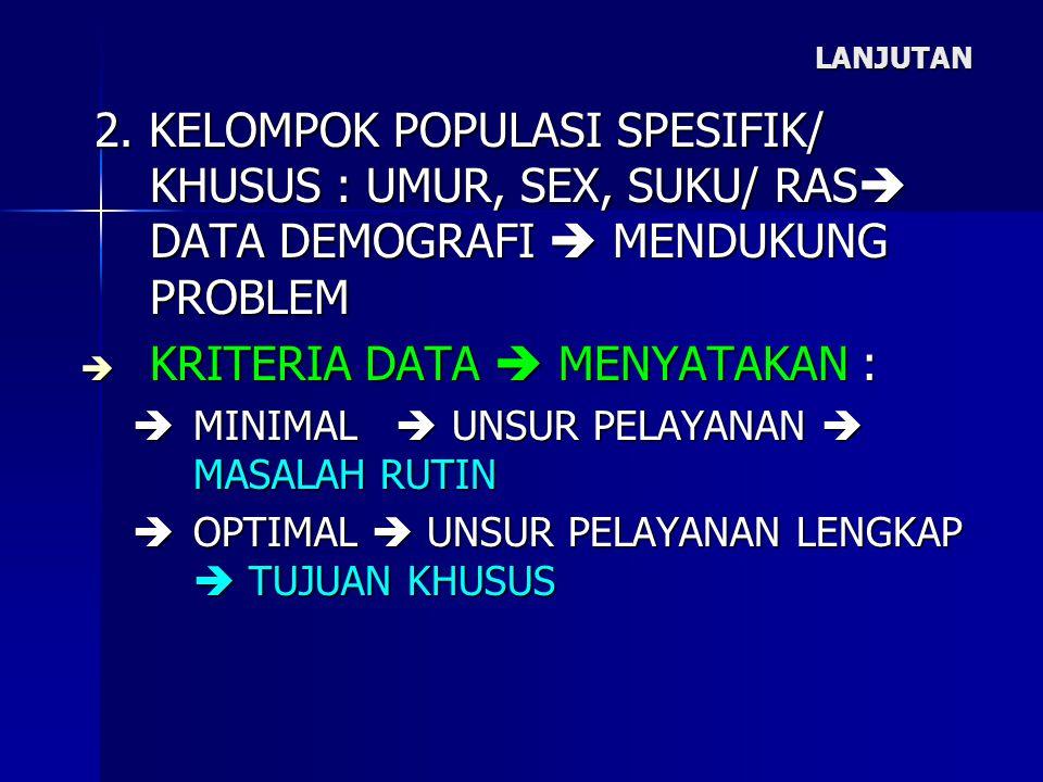 LANJUTAN 2. KELOMPOK POPULASI SPESIFIK/ KHUSUS : UMUR, SEX, SUKU/ RAS  DATA DEMOGRAFI  MENDUKUNG PROBLEM 2. KELOMPOK POPULASI SPESIFIK/ KHUSUS : UMU