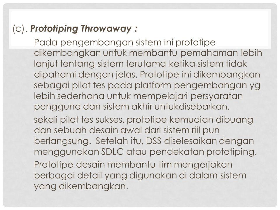 (c). Prototiping Throwaway : Pada pengembangan sistem ini prototipe dikembangkan untuk membantu pemahaman lebih lanjut tentang sistem terutama ketika
