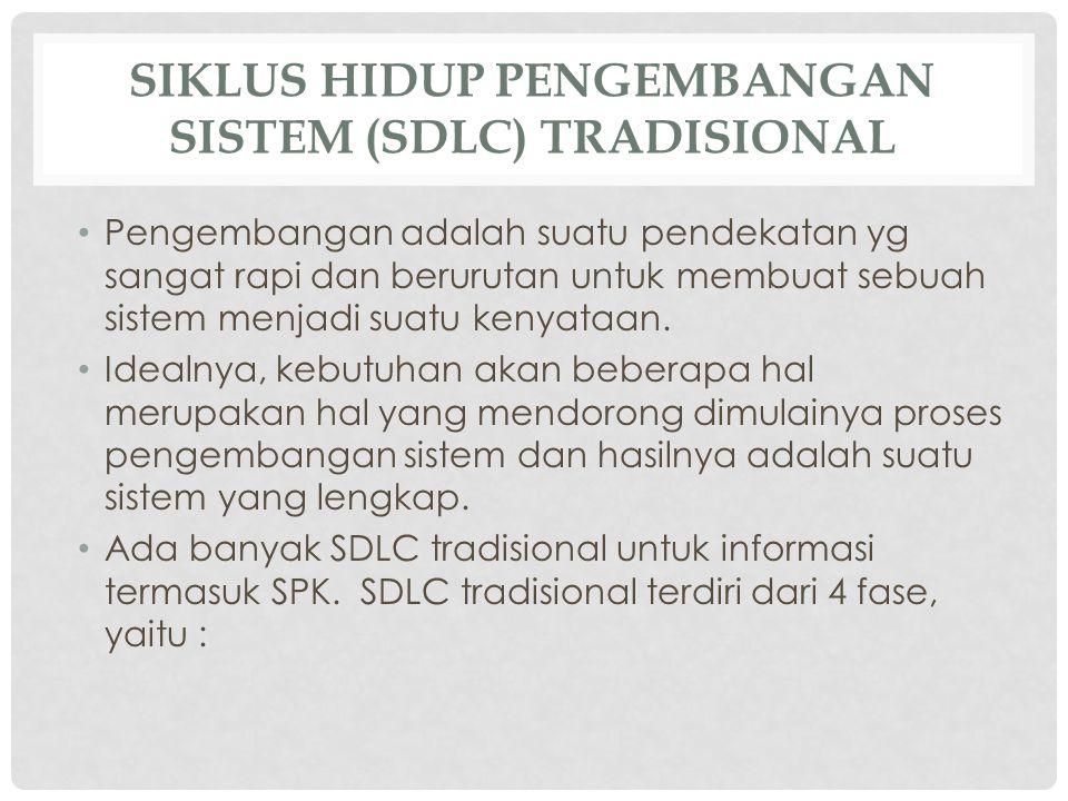 SIKLUS HIDUP PENGEMBANGAN SISTEM (SDLC) TRADISIONAL Pengembangan adalah suatu pendekatan yg sangat rapi dan berurutan untuk membuat sebuah sistem menj