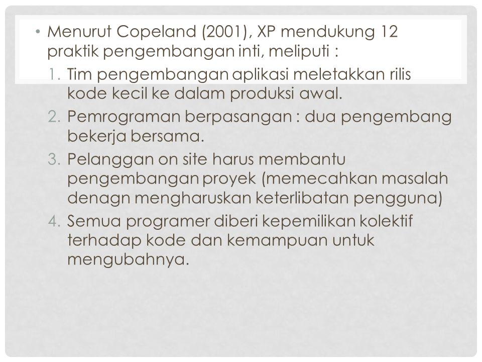 Menurut Copeland (2001), XP mendukung 12 praktik pengembangan inti, meliputi : 1.Tim pengembangan aplikasi meletakkan rilis kode kecil ke dalam produk