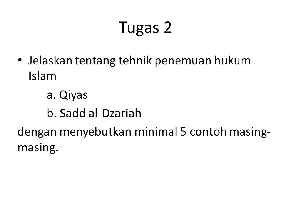Tugas 2 Jelaskan tentang tehnik penemuan hukum Islam a. Qiyas b. Sadd al-Dzariah dengan menyebutkan minimal 5 contoh masing- masing.