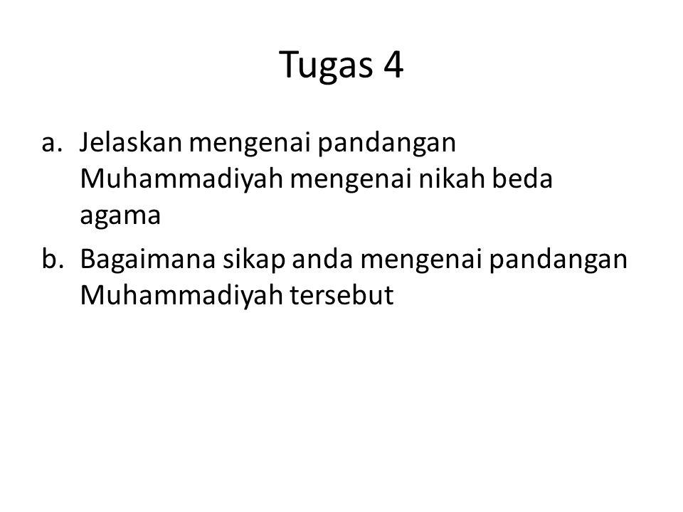 Tugas 4 a.Jelaskan mengenai pandangan Muhammadiyah mengenai nikah beda agama b.Bagaimana sikap anda mengenai pandangan Muhammadiyah tersebut