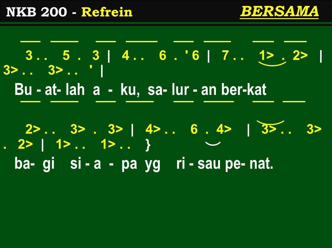 3.. 5. 3 | 4.. 6. ' 6 | 7.. 1>. 2> | 3>.. 3>.. ' | Bu - at- lah a - ku, sa- lur - an ber-kat 2>.. 3>. 3> | 4>.. 6. 4> | 3>.. 3>. 2> | 1>.. 1>.. } ba-