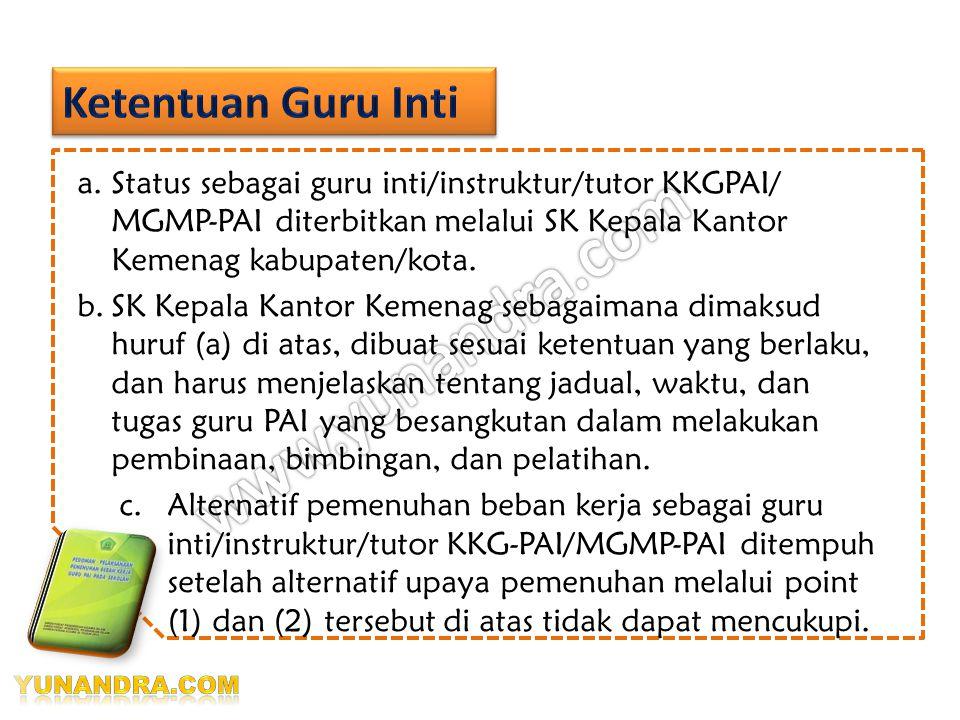 Sebagai guru inti/instruktur/tutor KKG- PAI/MGMP-PAI di wilayahnya, maka dapat diperhitungkan sebagai alternatif pemenuhan beban kerja 3. Menjadi guru