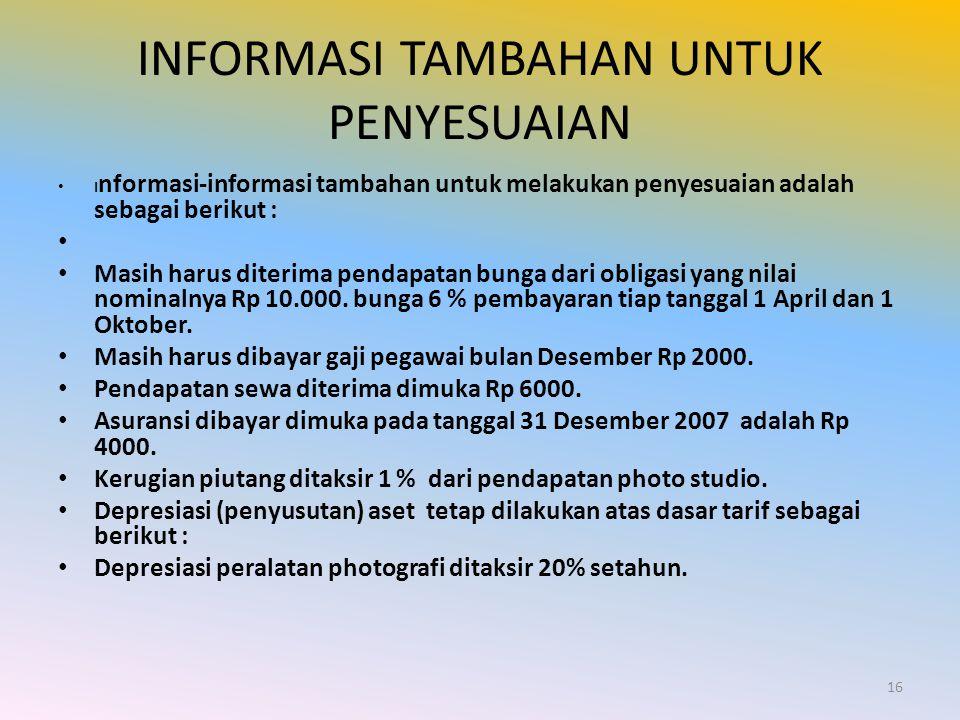INFORMASI TAMBAHAN UNTUK PENYESUAIAN I nformasi-informasi tambahan untuk melakukan penyesuaian adalah sebagai berikut : Masih harus diterima pendapata