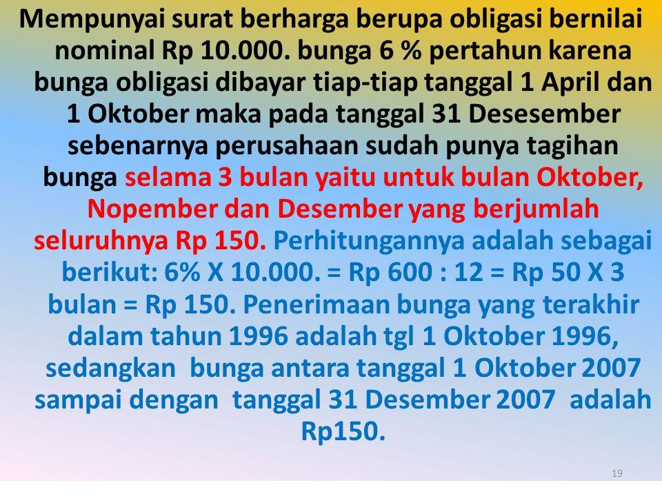 Mempunyai surat berharga berupa obligasi bernilai nominal Rp 10.000. bunga 6 % pertahun karena bunga obligasi dibayar tiap-tiap tanggal 1 April dan 1