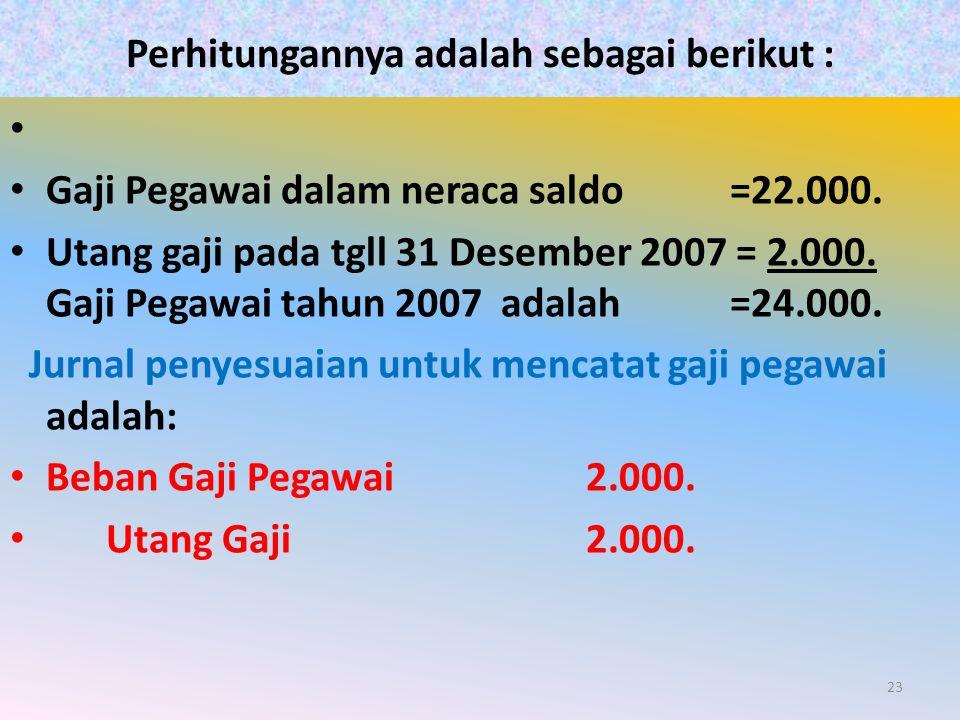 Perhitungannya adalah sebagai berikut : Gaji Pegawai dalam neraca saldo =22.000. Utang gaji pada tgll 31 Desember 2007 = 2.000. Gaji Pegawai tahun 200