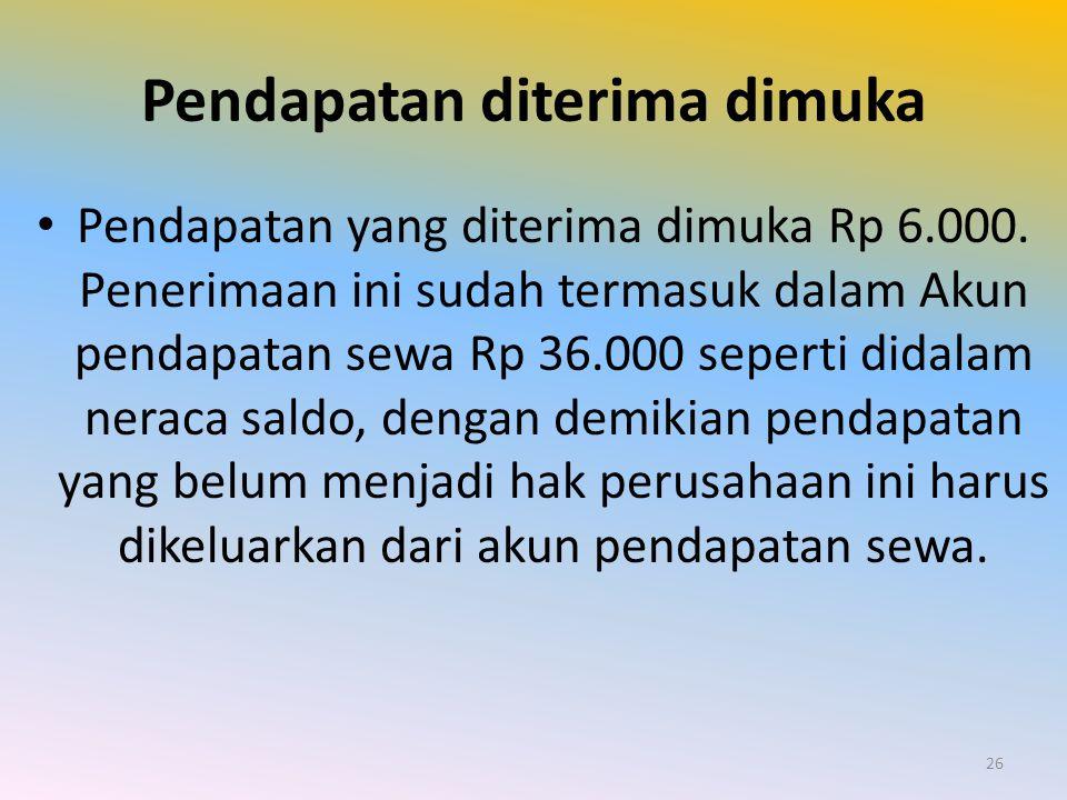 Pendapatan diterima dimuka Pendapatan yang diterima dimuka Rp 6.000. Penerimaan ini sudah termasuk dalam Akun pendapatan sewa Rp 36.000 seperti didala