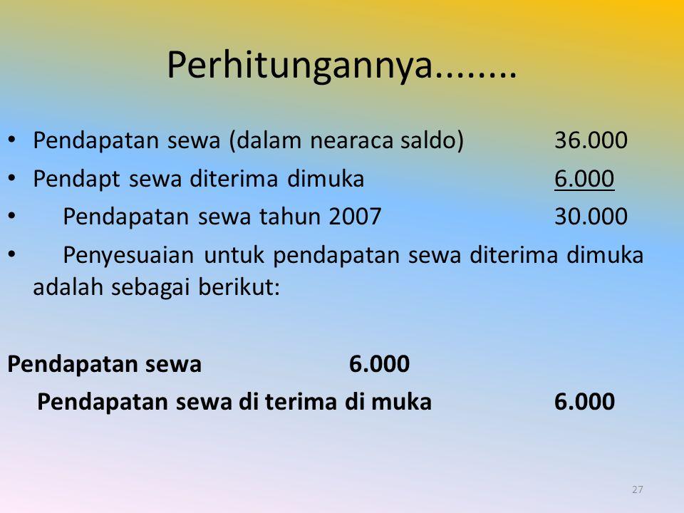 Perhitungannya........ Pendapatan sewa (dalam nearaca saldo)36.000 Pendapt sewa diterima dimuka 6.000 Pendapatan sewa tahun 200730.000 Penyesuaian unt