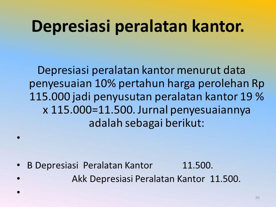 Depresiasi peralatan kantor. Depresiasi peralatan kantor menurut data penyesuaian 10% pertahun harga perolehan Rp 115.000 jadi penyusutan peralatan ka