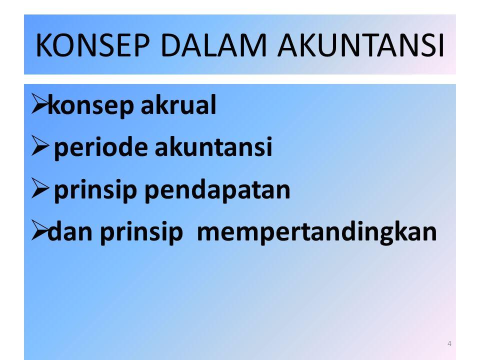 KONSEP DALAM AKUNTANSI  konsep akrual  periode akuntansi  prinsip pendapatan  dan prinsip mempertandingkan 4