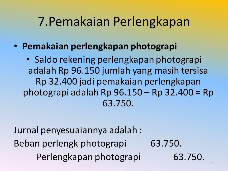 7.Pemakaian Perlengkapan Pemakaian perlengkapan photograpi Saldo rekening perlengkapan photograpi adalah Rp 96.150 jumlah yang masih tersisa Rp 32.400