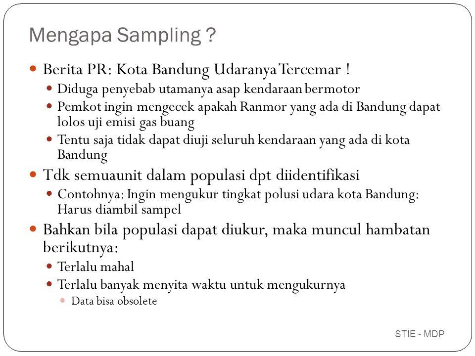 Pertimbangan menentukan ukuran sampel Heterogenitas dari populasi Tingkat presisi yang dikehendaki Tipe sampling design yang digunakan Resources availability Number of breakdowns planned in data analysis STIE - MDP
