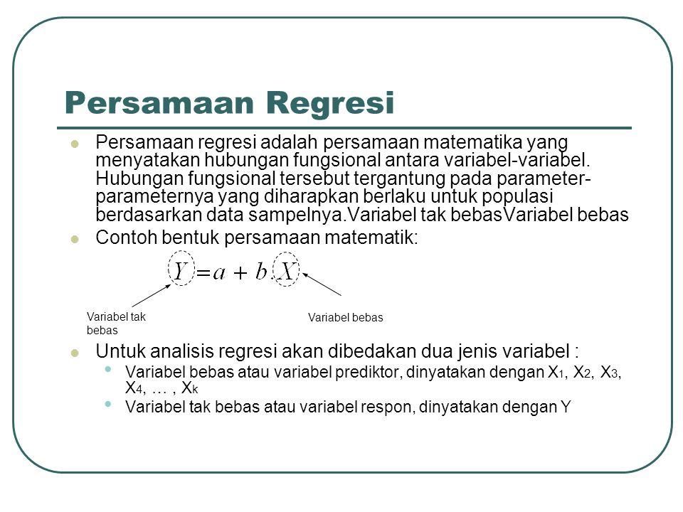 Persamaan Regresi Persamaan regresi adalah persamaan matematika yang menyatakan hubungan fungsional antara variabel-variabel. Hubungan fungsional ters