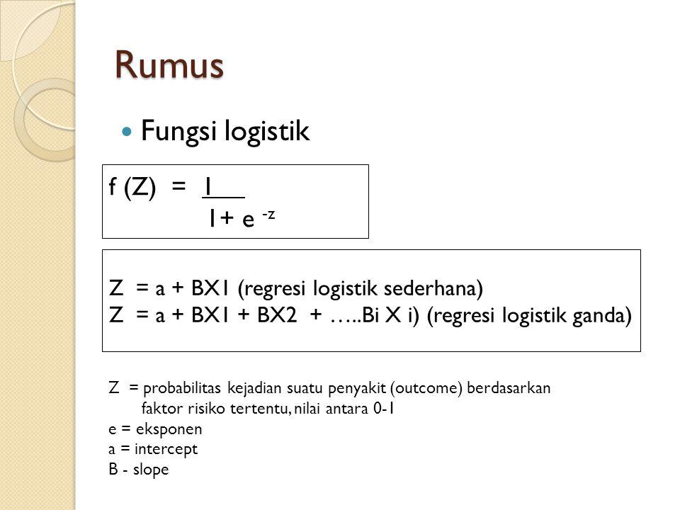 Rumus Fungsi logistik f (Z) = 1 1+ e -z Z = a + BX1 (regresi logistik sederhana) Z = a + BX1 + BX2 + …..Bi X i) (regresi logistik ganda) Z = probabili