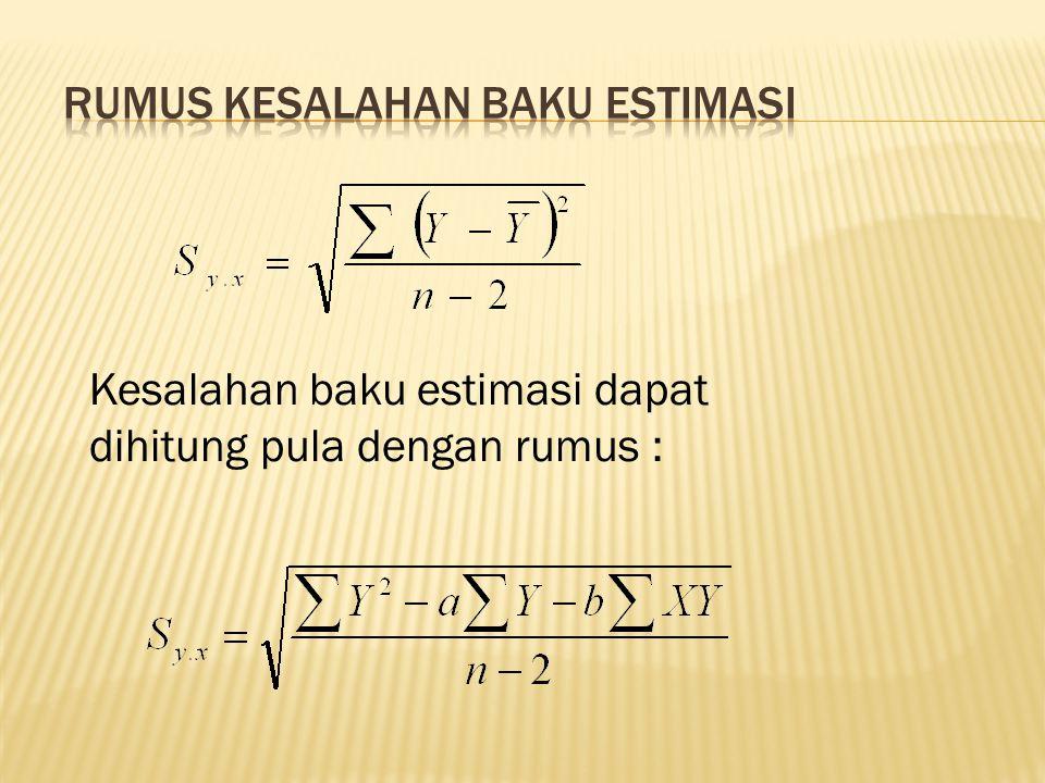 Kesalahan baku estimasi dapat dihitung pula dengan rumus :