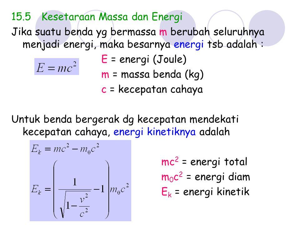 15.5Kesetaraan Massa dan Energi Jika suatu benda yg bermassa m berubah seluruhnya menjadi energi, maka besarnya energi tsb adalah : E = energi (Joule)