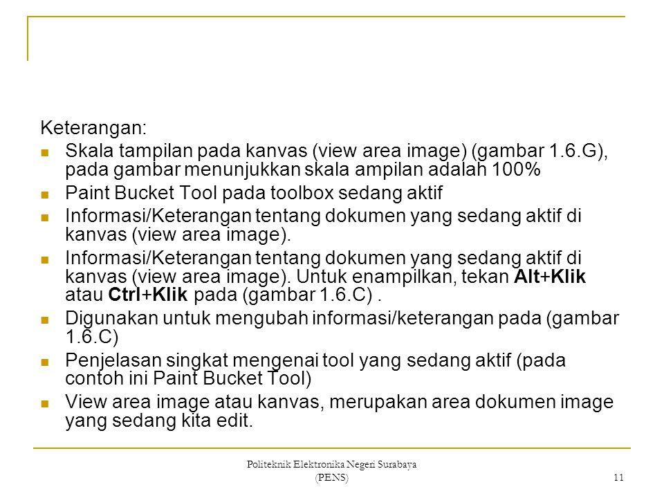 Politeknik Elektronika Negeri Surabaya (PENS) 11 Keterangan: Skala tampilan pada kanvas (view area image) (gambar 1.6.G), pada gambar menunjukkan skal