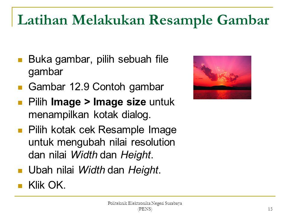 Politeknik Elektronika Negeri Surabaya (PENS) 15 Latihan Melakukan Resample Gambar Buka gambar, pilih sebuah file gambar Gambar 12.9 Contoh gambar Pil
