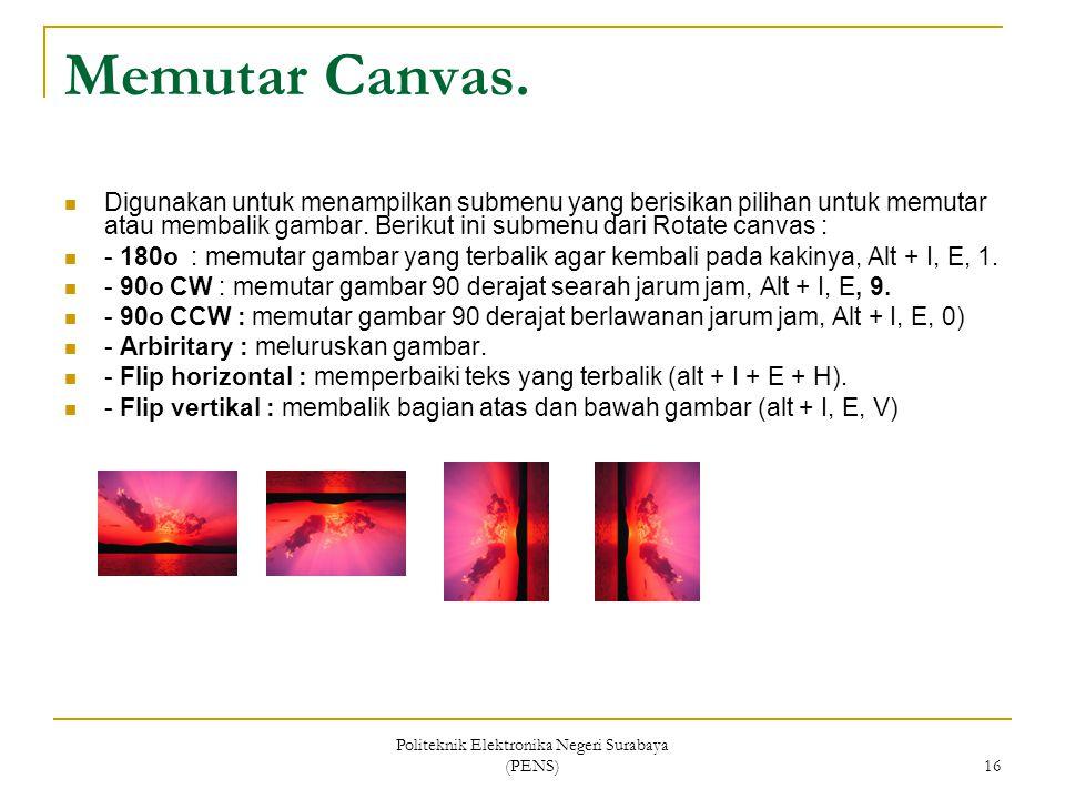 Politeknik Elektronika Negeri Surabaya (PENS) 16 Memutar Canvas. Digunakan untuk menampilkan submenu yang berisikan pilihan untuk memutar atau membali