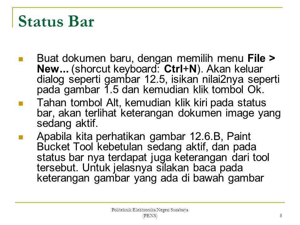 Politeknik Elektronika Negeri Surabaya (PENS) 8 Status Bar Buat dokumen baru, dengan memilih menu File > New... (shorcut keyboard: Ctrl+N). Akan kelua