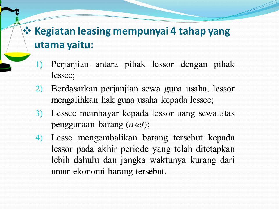  Kegiatan leasing mempunyai 4 tahap yang utama yaitu: 1) Perjanjian antara pihak lessor dengan pihak lessee; 2) Berdasarkan perjanjian sewa guna usah