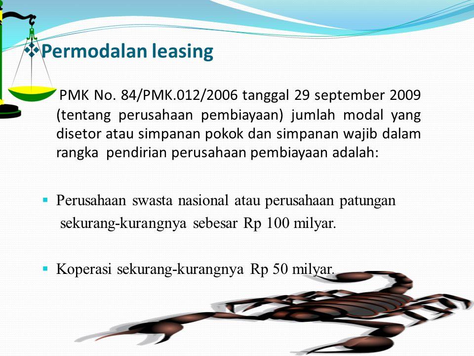  Permodalan leasing PMK No. 84/PMK.012/2006 tanggal 29 september 2009 (tentang perusahaan pembiayaan) jumlah modal yang disetor atau simpanan pokok d