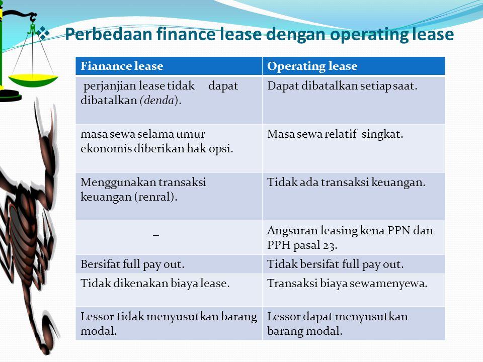  Perbedaan finance lease dengan operating lease Fianance leaseOperating lease perjanjian lease tidak dapat dibatalkan (denda). Dapat dibatalkan setia