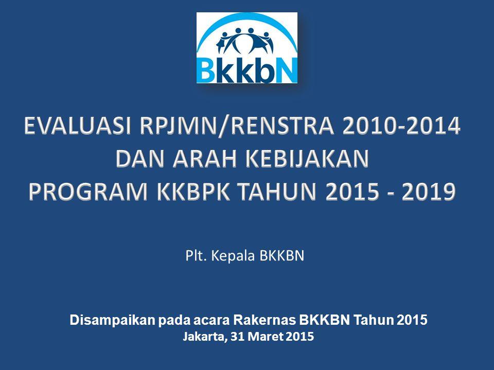 2 Mengendalikan jumlah dan laju pertumbuhan penduduk RPJM 1 (2005-2009) RPJM 2 (2010-2014) Terkendalinya jumlah dan laju pertumbuhan penduduk RPJM 3 (2015-2019) Tercapainya kondisi penduduk tumbuh seimbang Bertahannya kondisi penduduk tumbuh seimbang RPJM 4 (2020-2024) Catatan: Hasil SP 2010 dan SDKI 2012 mengindikasikan proyeksi sebelumnya terlalu optimis  Strateginya adalah Akselerasi pembangunan kependudukan dan KB tahun 2013 dan 2014 berdasarkan hasil SP 2010 dan SDKI 2012.