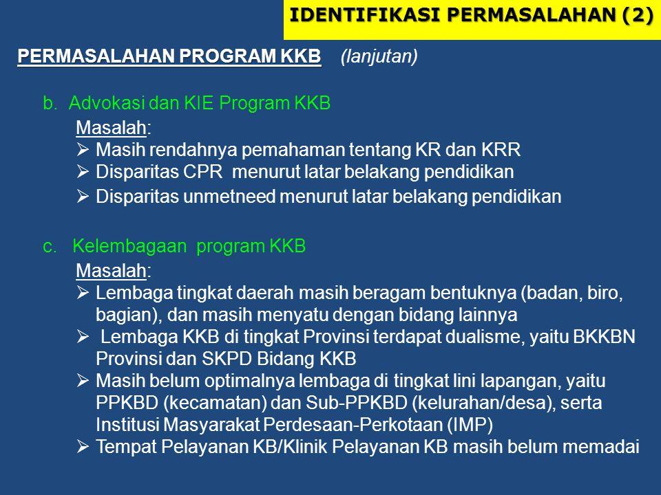 PERMASALAHAN PROGRAM KKB PERMASALAHAN PROGRAM KKB (lanjutan) b.Advokasi dan KIE Program KKB Masalah:  Masih rendahnya pemahaman tentang KR dan KRR 