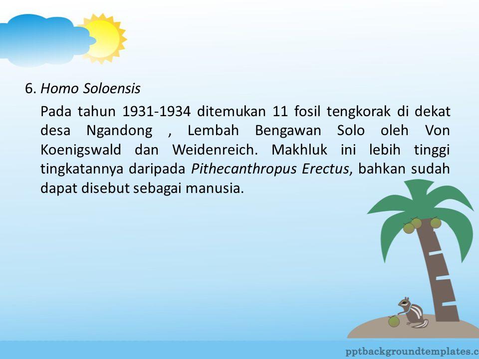 6. Homo Soloensis Pada tahun 1931-1934 ditemukan 11 fosil tengkorak di dekat desa Ngandong, Lembah Bengawan Solo oleh Von Koenigswald dan Weidenreich.
