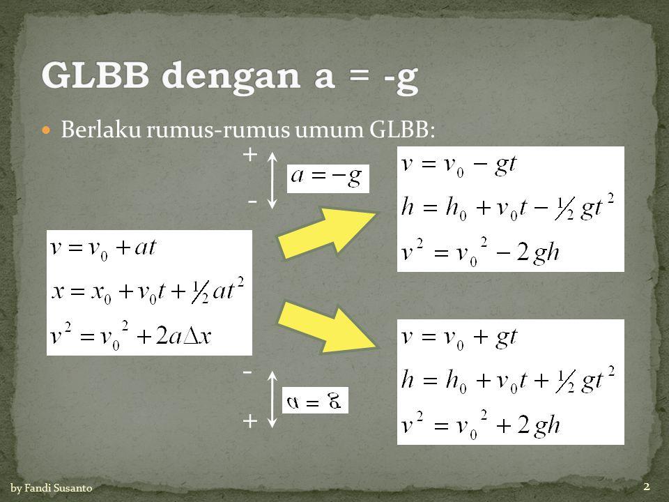 Berlaku rumus-rumus umum GLBB: + - - + 2 by Fandi Susanto