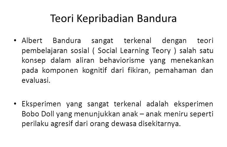 Teori Kepribadian Bandura Belajar Sosial : perilaku dibentuk melalui konteks sosial, perilaku dapat dipelajari, baik sebagai hasil reinforcement maupun reinforcement itu sendiri.